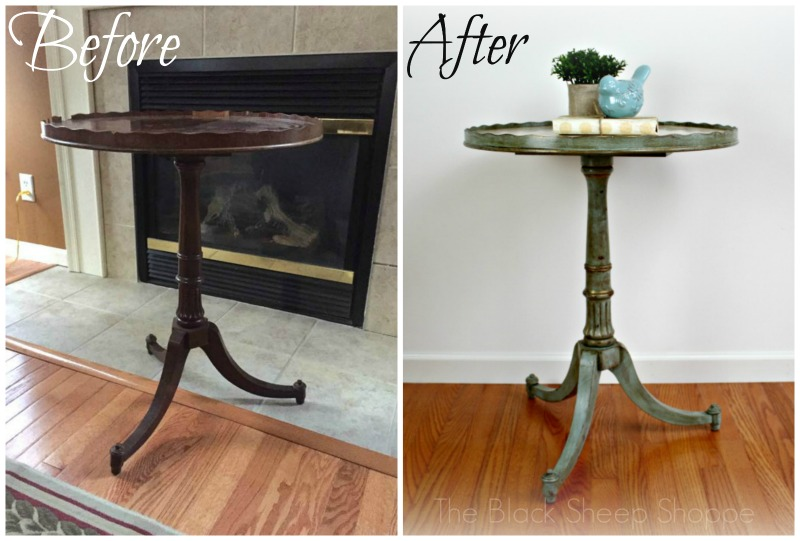 Vintage pedestal table before and after.