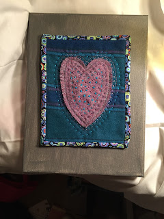 wool heart and french knots