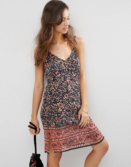 festival print dress, v neck festival dress,