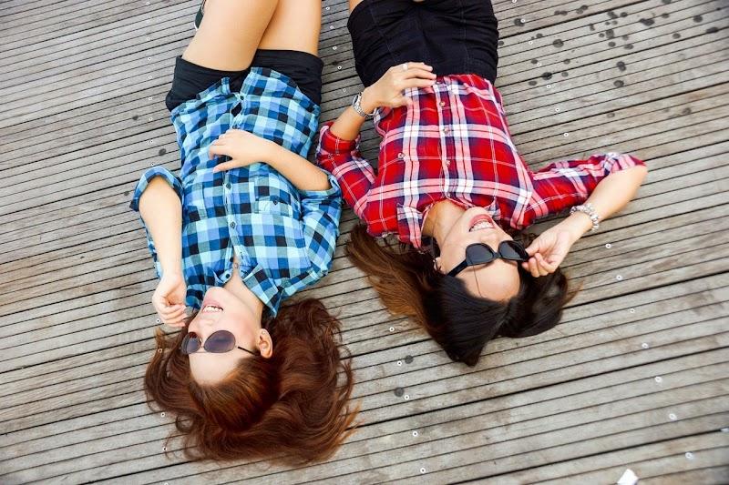 Fashion girls wearing dark glasses