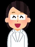 白衣を着た人のイラスト(女性・笑う)