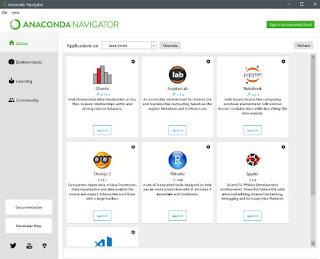 Home tab on anaconda navigator application window