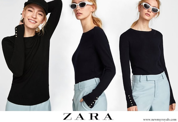 Crown Princess Mary wore Zara round-neck sweater with pearl cuff
