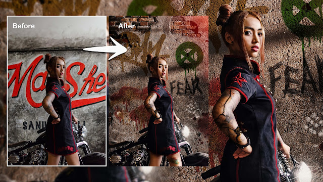 SpeedArt Tattoo Girl Change Background & Wall Painting