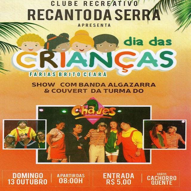 Recanto da Serra promove Dia Das Crianças neste domingo, em Farias Brito