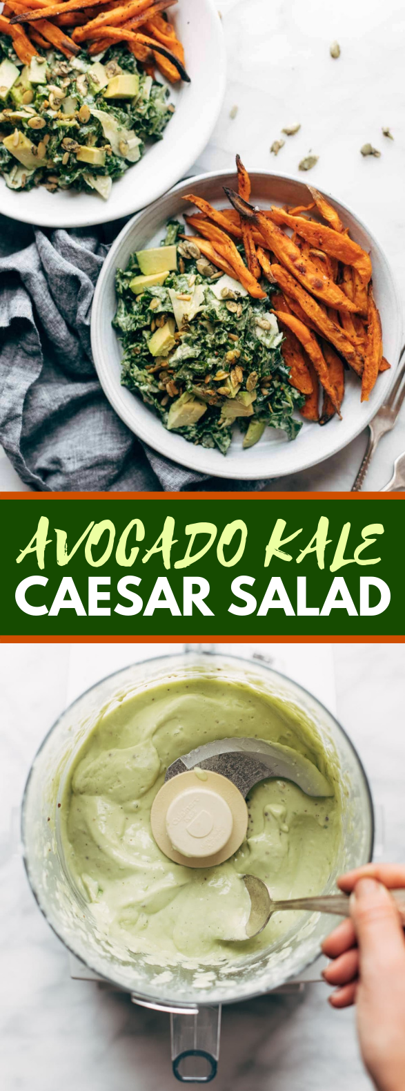 Avocado Kale Caesar Salad + Sweet Potato Fries #vegetarian #glutenfree