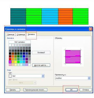 Заливка фоновым цветом столбцов таблицы