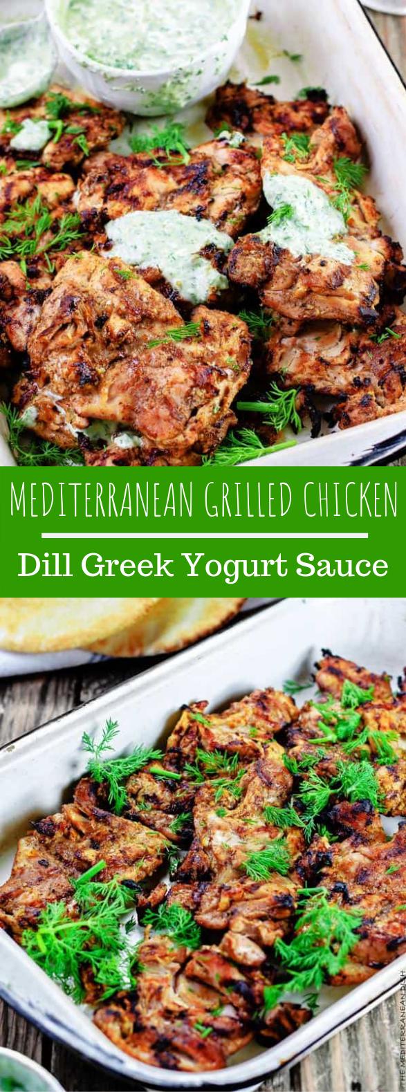 MEDITERRANEAN GRILLED CHICKEN + DILL GREEK YOGURT SAUCE #summerdinner #glutenfree