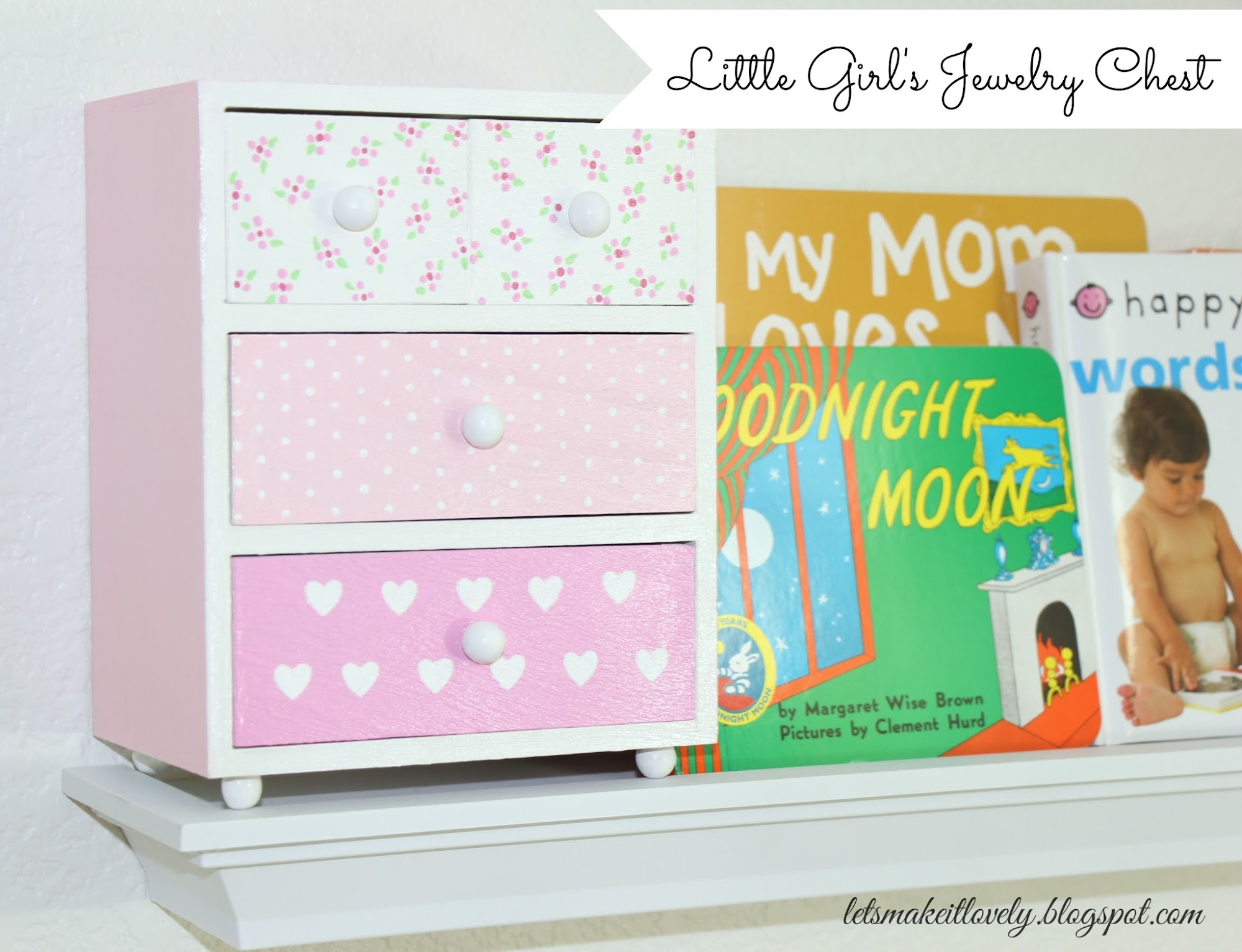 DIY little girl's Jewelry Chest, Baby Photo Frames, Pink heart Pillow cover, Floral Basket, Baby Nursery Projects, Nursery Crafts