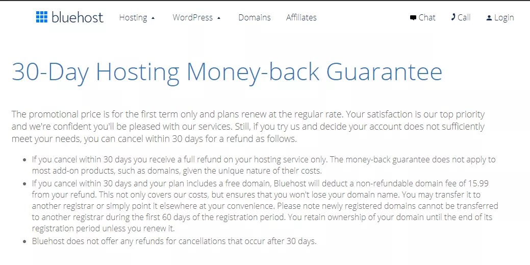 Bluehost 30 Days Money-Back Guarantee