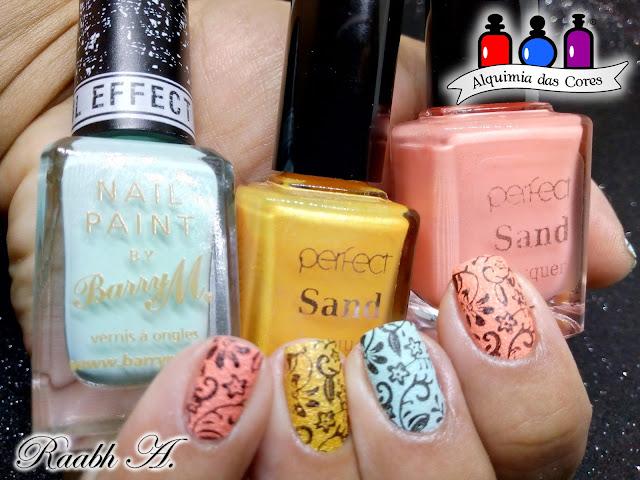 Esmalte texturizado, Liquid Sand, Barry M. Ridley Road, Perfect S58. Perfect S59, laranja, coral, verde, unhas carimbadas, nail art, Raabh A. 2018, Candy Colors,