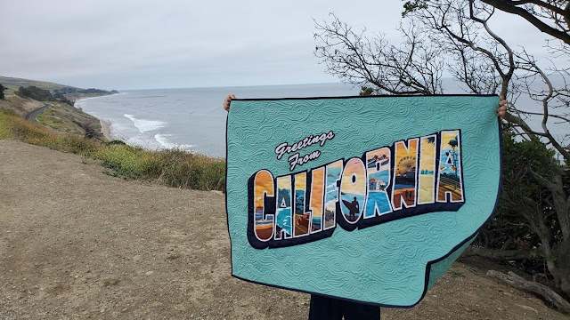Greetings from California vintage postcard quilt made with Riley Blake Destinations California Beaches fabric panel
