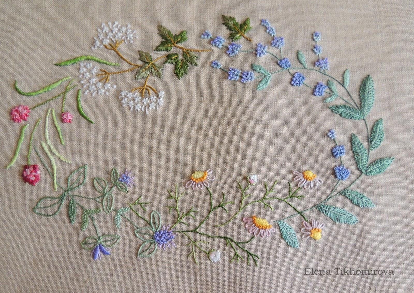 Herb Embroidery on Linen, Sadako Totsuka, блог Лаконичная вышивка
