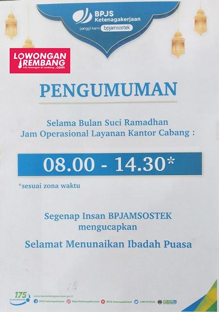 Jam Operasional Layanan Kantor Cabang BPJS Ketenagakerjaan Kabupaten Rembang