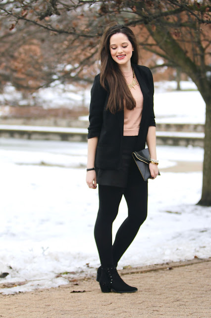 Nyc fashion blogger Kathleen Harper showing how to wear shorts with tights
