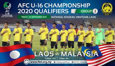 Live Streaming Laos vs Malaysia (AFC U16 Qualifiers) 20.9.2019