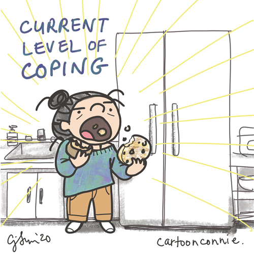 cartoon about coping with anxiety and uncertainty, binge-eating comic, sketchbook illustration by Connie Sun, cartoonconnie