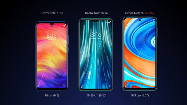 Redmi Note 9 Pro Max vs. Redmi Note 7 Pro vs. Redmi Note 8 Pro (screen size)