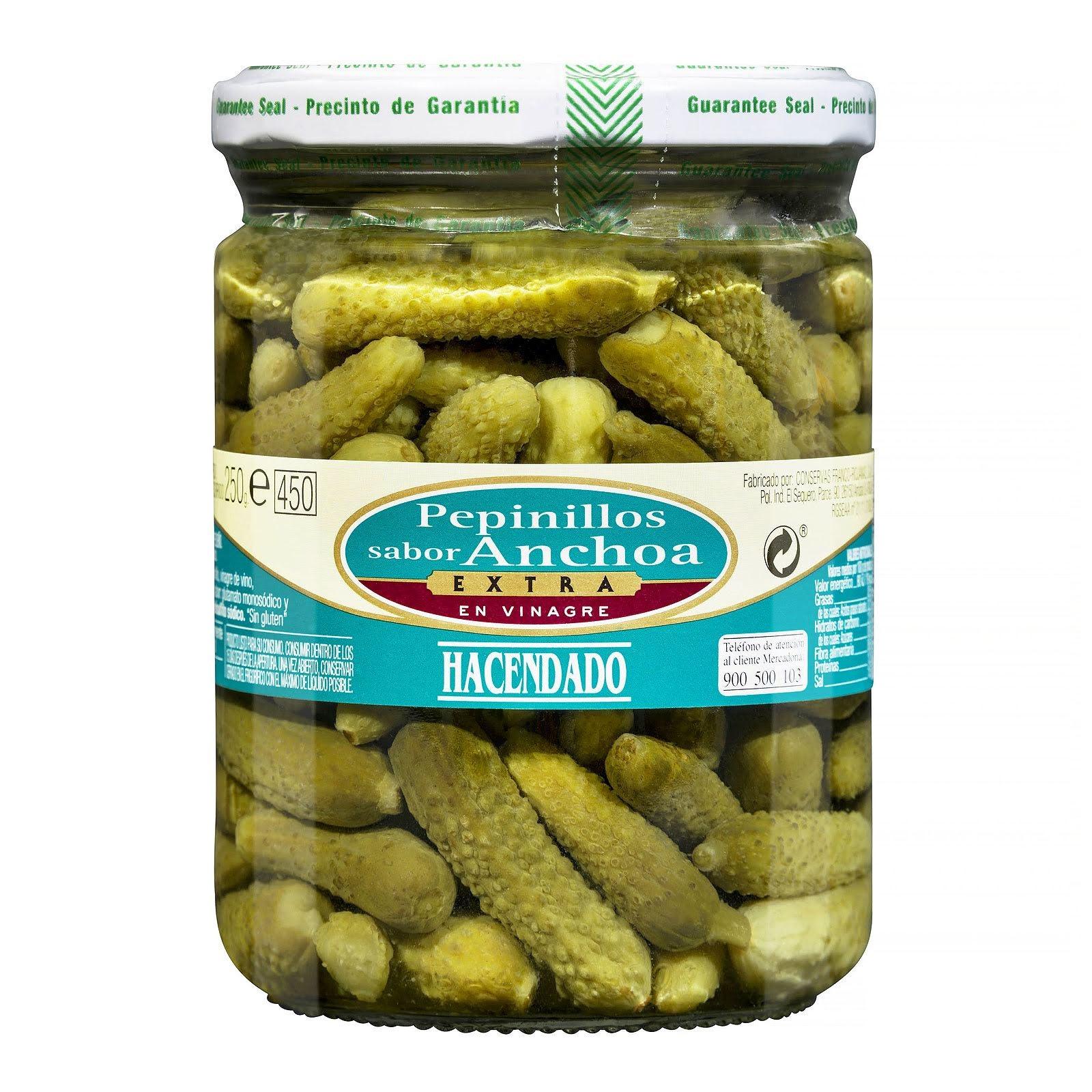 Pepinillos sabor anchoa extra en vinagre Hacendado