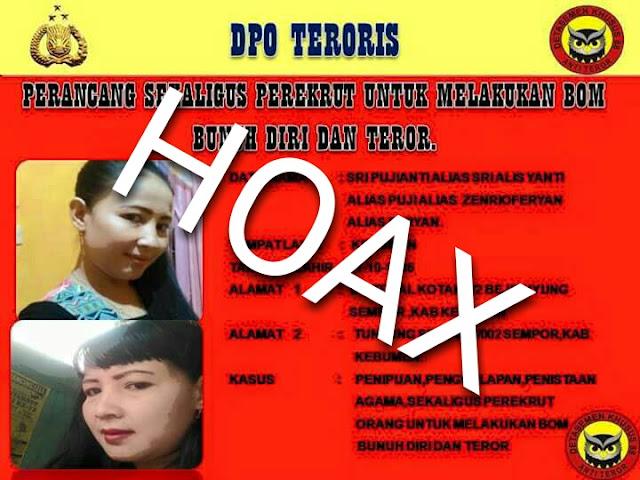 Broadcast DPO Kasus Teroris Cantik Asal Kebumen  HOAX, Ini Penjelasan Kapolres