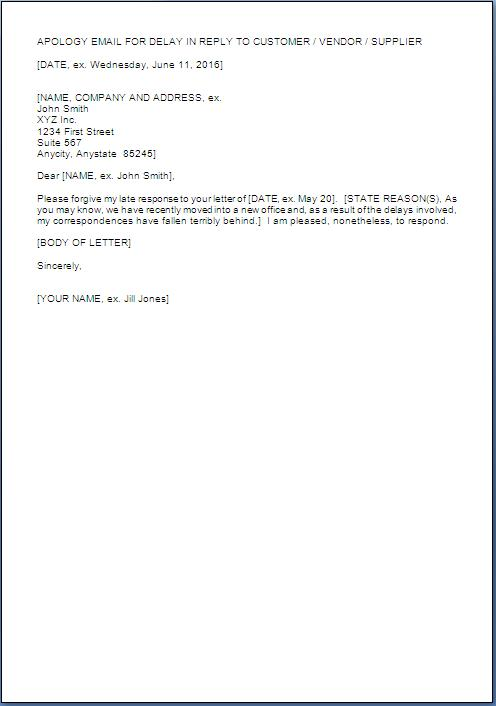 Business Apology Letter For Late Response