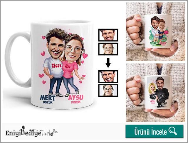 Mutlu aşıklar karikatürlü kupa bardak