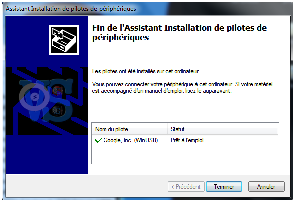 installation pilote android usb google