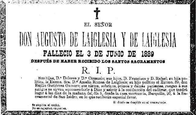 Una de las esquelas aparecidas en la prensa comunicando el fallecimiento de Augusto de Laiglesia