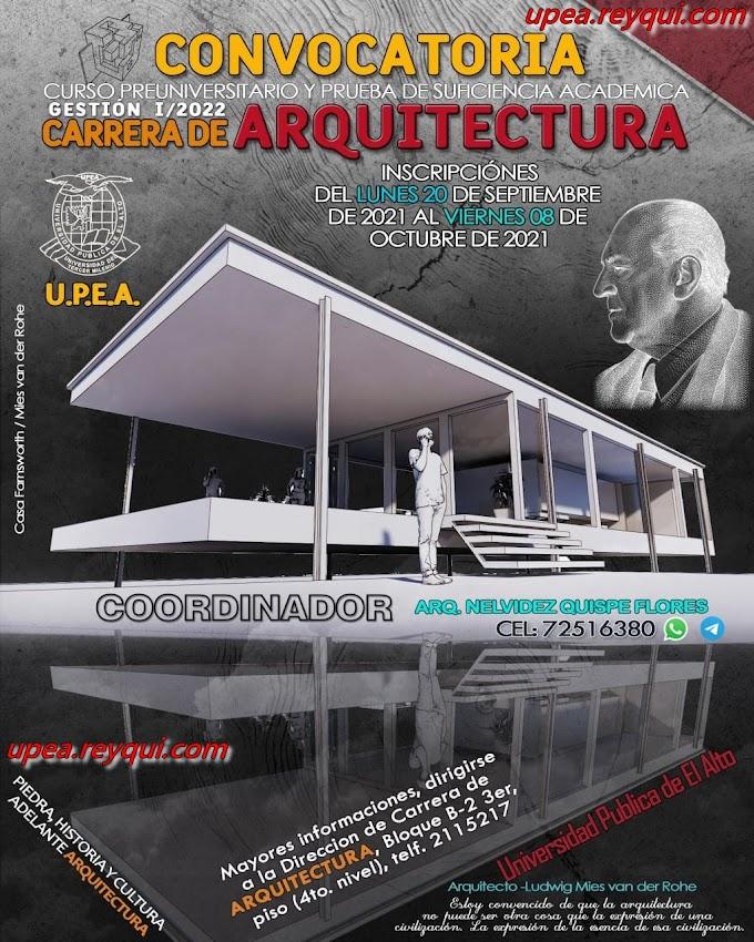Arquitectura UPEA I/2022: Convocatoria al Curso Preuniversitario y Prueba de Suficiencia Académica