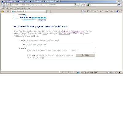 Websense Enterprise: Access to this web page is restricted at this time