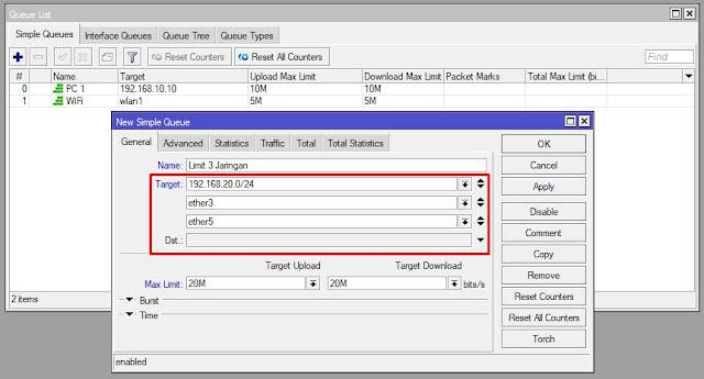 setting bandwidth mikrotik berdasarkan ip, jaringan, dan interface sekaligus