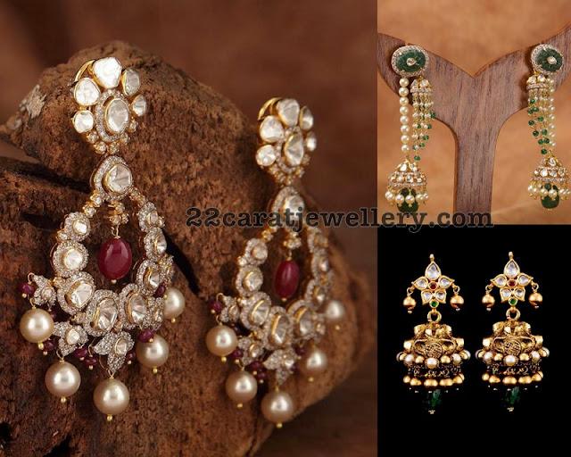 Pachi Work Earrings by SRJ Fine Jewels