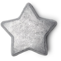 A chunky star shaped bath melt covered in bright silver glitter with a blue interior on a white background