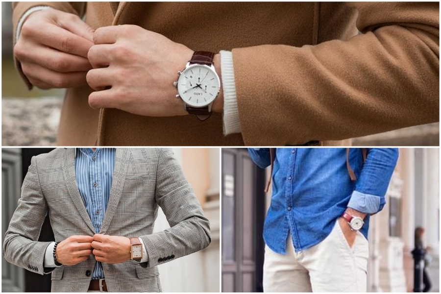 Brown & white Combination watch style