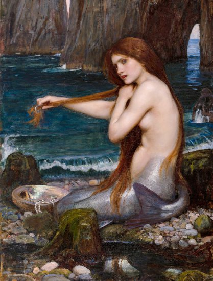 A mermaid by John William Waterhouse 1900 CC1005 Postcard