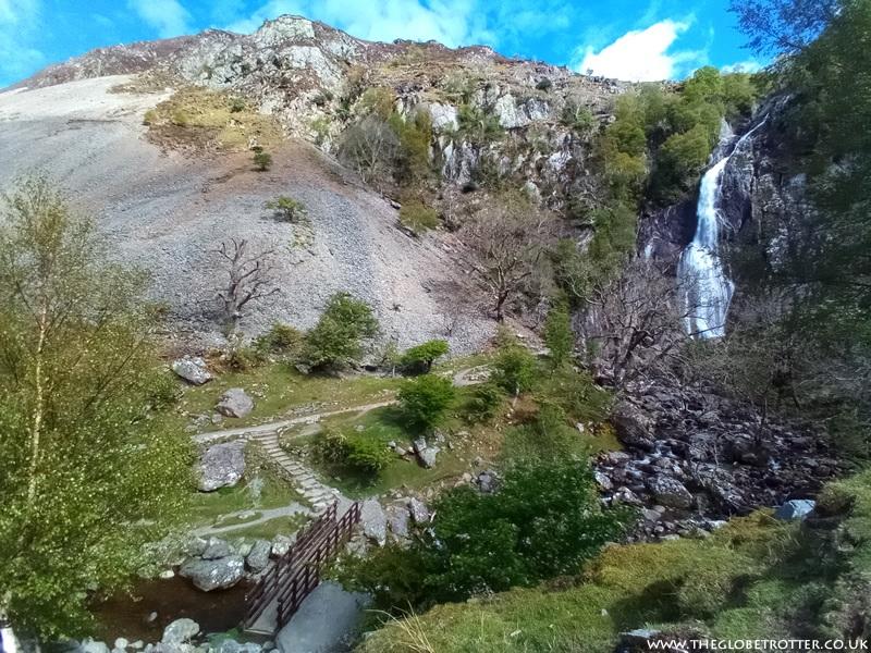 Rhaeadr Fawr Waterfall (Aber Falls) in Snowdonia, Wales