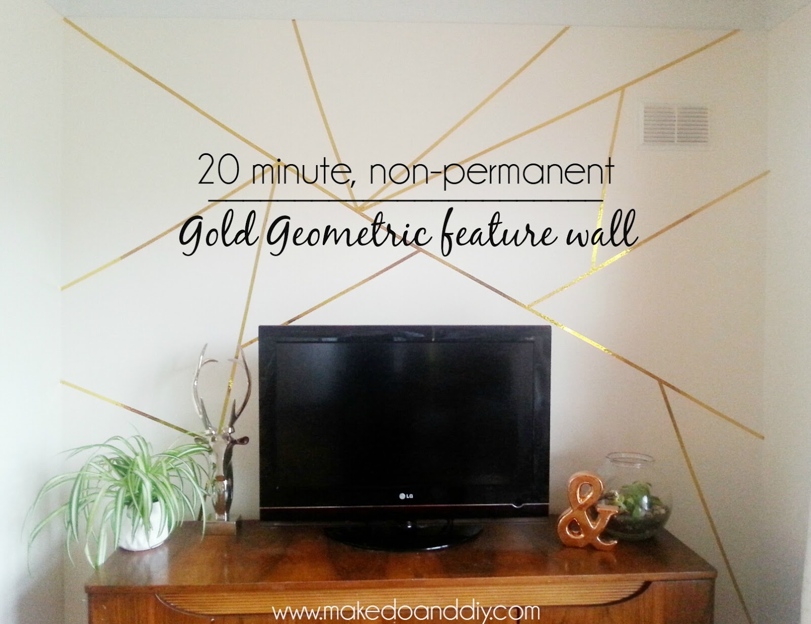 how to create a gold geometric feature wall in 20 minutes...and it's  removable!