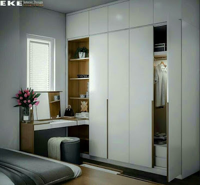 White wardrobe idea with shelves and hidden desk design