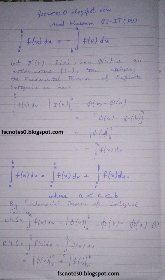 FSc ICS Notes Math Part 2 Chapter 3 Integration Formula Definite Integral by Asad Hussain 1