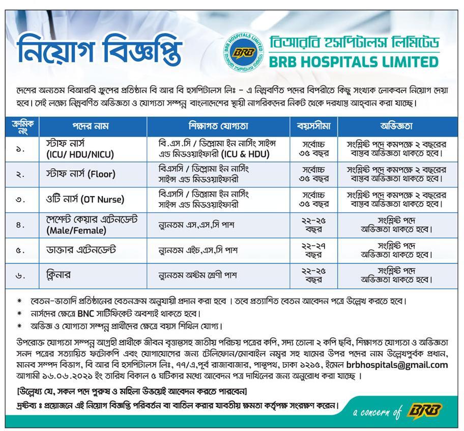 বিআরবি হাসপাতাল নতুন নিয়োগ বিজ্ঞপ্তি ২০২১ - BRB Hospital New Job Circular 2021 - নার্স ডাক্তার নিয়োগ বিজ্ঞপ্তি ২০২১