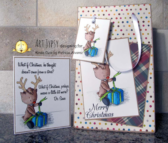 Christmas set using reindeer with a present digital stamp