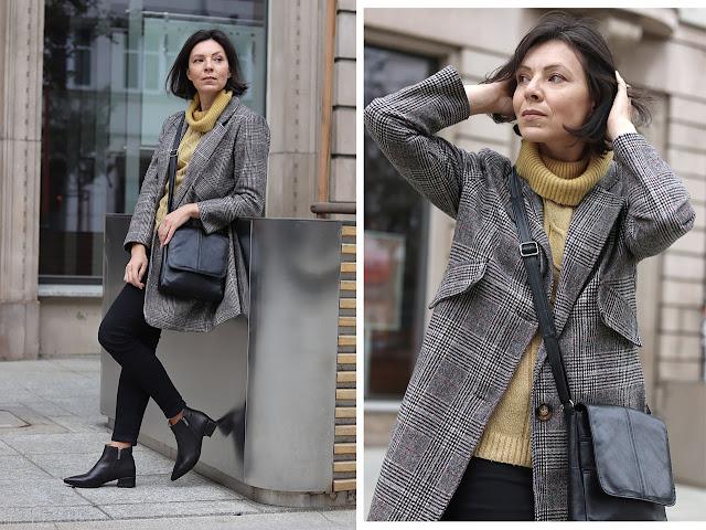 Jesienne stylizacje płaszcz w kratę