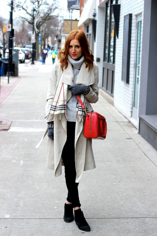 winter style- pop of red, beige trench