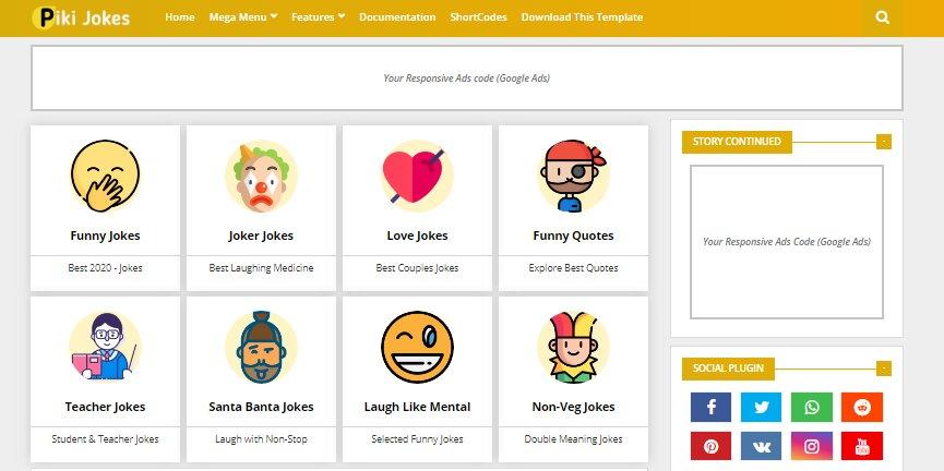 Piki Jokes is Best Website Templates for Blogs 2021