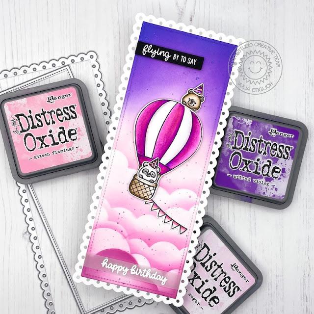 Sunny Studio Stamps: Balloon Rides Slimline Dies Birthday Card by Julia Englich