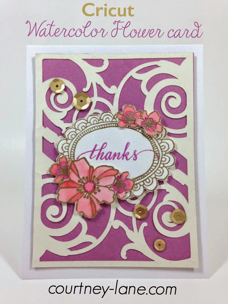 Cricut Watercolor flower card