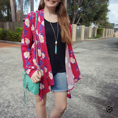 awayfromtheblue instagram | mum style black tee bermuda denim shorts cotton on magenta floral kimono