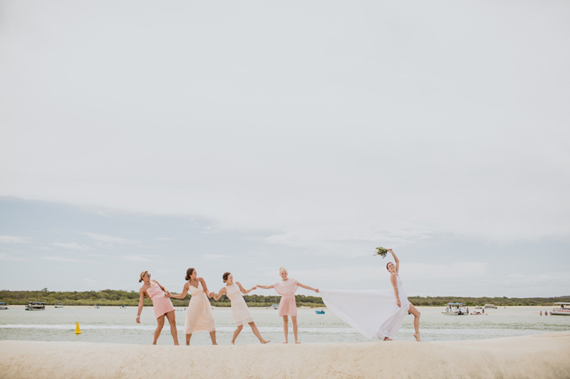 funny shot of bride and bridesmaids
