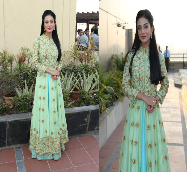 Amrita Rao in Floor Length Embroidery Anarkali