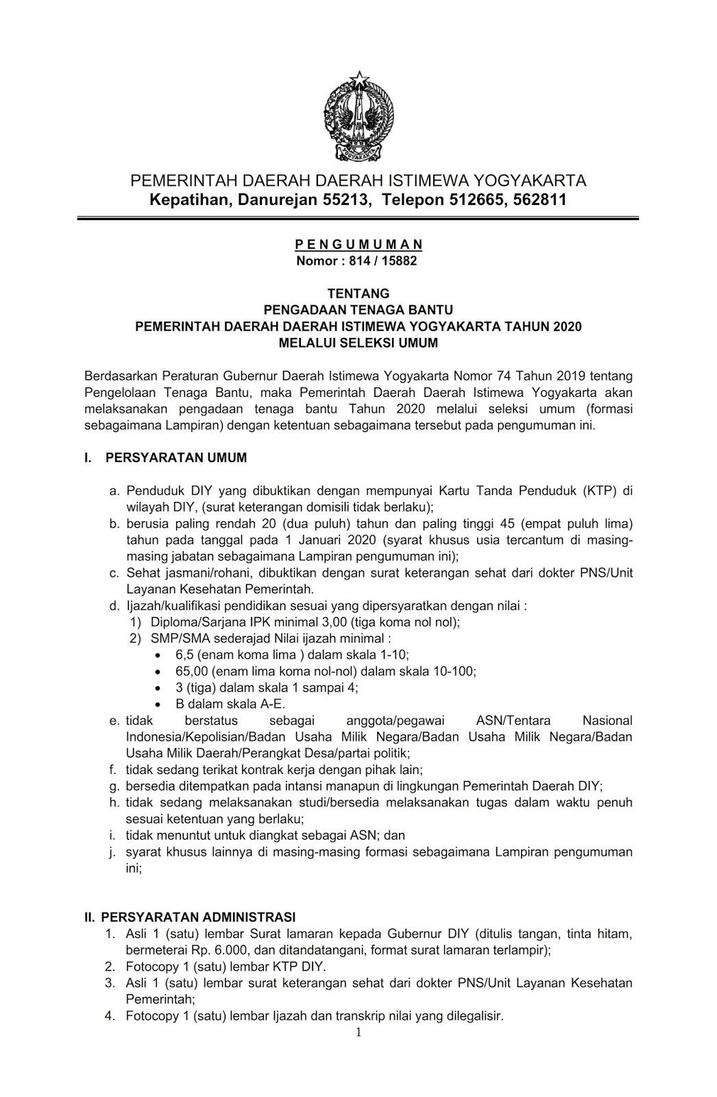 Pengadaan Tenaga Bantu Pemda Diy Tahun 2020 Tingkat Pendidikan Sltp Slta Smk D3 D4 S1 Rekrutmen Dan Lowongan Kerja Bulan Februari 2021